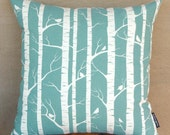 HANDPRINTED Birch Forest Cushion Cover (Pillow Cover) in Robins Egg