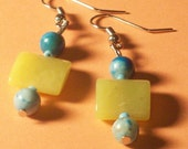 Earrings Blue and Yellow Turquoise Gemstone