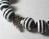 Black and white stripes with Butterflies Stretchy Bracelet