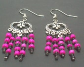 Chandelier Earrings Neon Pink and Black Gothic Dangle Heart