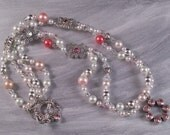 Beaded Necklace Pink Swarovski Crystal and Faux Pearl Multi Strand