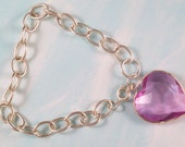 Bracelet Lavender Pink Heart Charm Dangle XSmall