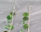 Shoulder Duster Earrings Green Shell Drops and Swarovski Crystal Long E-S2012-0003