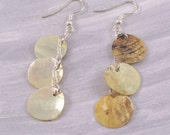 Tan Natural Mother of Pearl Shell Chain Earrings