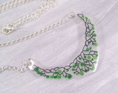 Necklace Shrinky Dink Acrylic on Silver plated Chain- Green leaves on black vines