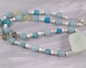Necklace Gemstone Focal with Swarovski Crystals