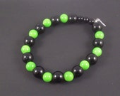 Stretch Bracelet Lime Green and Black Small