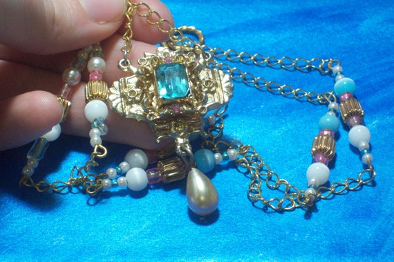 Necklace Vintage 1950s Pendant with Pastel Beaded Gold links and gold chain long