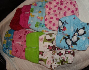 "Female dog diapers set of 10 choose sizes from 7-8"",9-10,11-12"",12-13,13-14,14-15"" waist handmade"