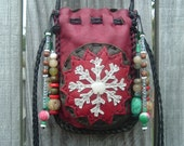 Snowflake Christmas Medicine Bag with a Hand Carved Jade Bear Fetish and Beads