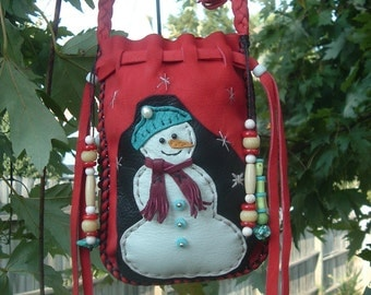 DEERSKIN CHRISTMAS Medicine Bag with a SNOWMAN (((sale)))