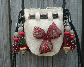 Sale!!! was 65.00 now 50.00 Christmas Medicine Bag with a BEAUTIFL Red Crysral Ribbon Brooch