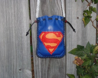 Leather Medicine Bag Superman Bag Super Hero Great for Kids Treasure Hunting