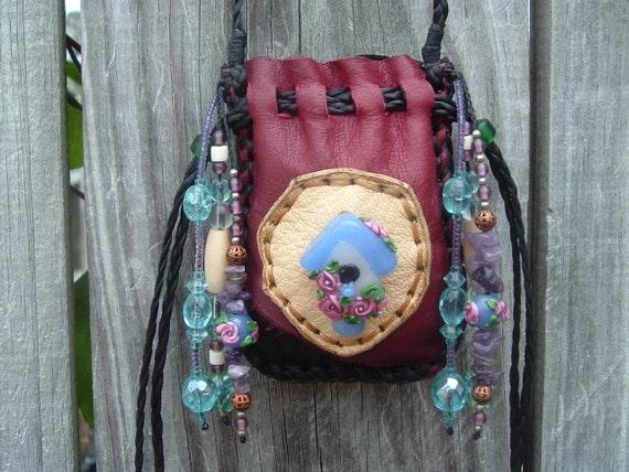 MEDICINE BAG with a Beautiful handmade glass Lamp Work bird house peice on the front (((SALE)))