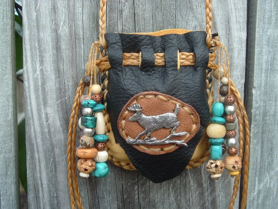 Deerskin Leather Medicine Bag with a Pewter deer on the front