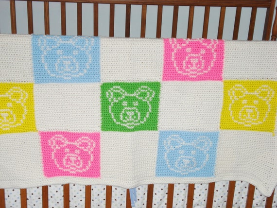 Hand Crochet Baby Blanket With Cross Stitch Bears