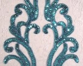 "0170 Turquoise Mirror Pair Beaded Sequin Appliques 9""  Sewing Crafts Bridal Motif 0170X-tr"