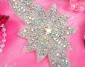"JB33 Silver Beaded Floral Aurora Borealis Crystal AB Rhinestone Applique 6.5""  (JB33-slcab)"