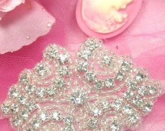 "A0477 Cinderella Genuine Rhinestone Beaded Applique 3""  A0477-SLCR"