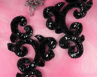 0242 Black Mirror Pair Sequin Beaded Appliques 6""
