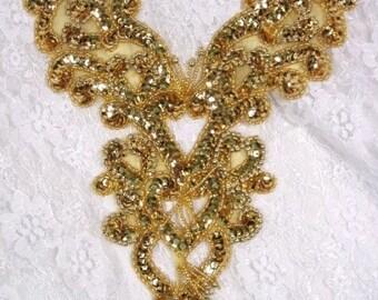 "0035 Gold Heart Bodice Yoke 8"" Beaded Sequin Applique  (0035-gl)"