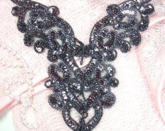 "0035  Gunmetal Smoke Black Heart Bodice Yoke 8"" Sequin Beaded Applique"