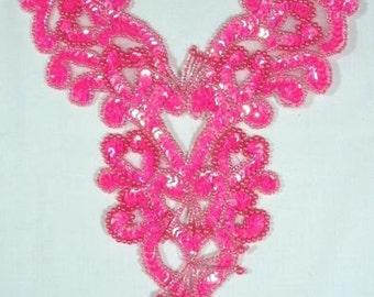 "0035  Hot Pink Heart Bodice Yoke 8"" Sequin Beaded Applique"