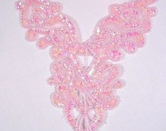 "0035 Pink Crystal AB Heart Bodice Yoke 8"" Sequin Beaded Applique"