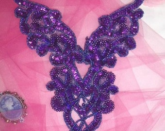 "0035 Purple Heart Bodice Yoke 8"" Sequin Beaded Applique"