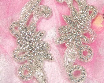 "XR27 Crystal Clear Rhinestone Appliques Silver Beaded Mirror Pair 7.5"" (XR27X-slcr)"