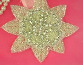 "XR48 Silver Beaded Floral Crystal Clear Rhinestone Applique 4"""