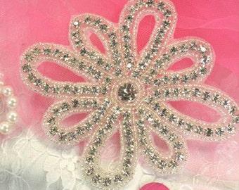"XR53 Crystal Clear Floral Silver Beaded Rhinestone Applique 5"""