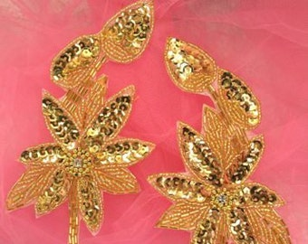 """XR51 Gold Floral Mirror Pair Beaded Sequin Appliques 6"""""""