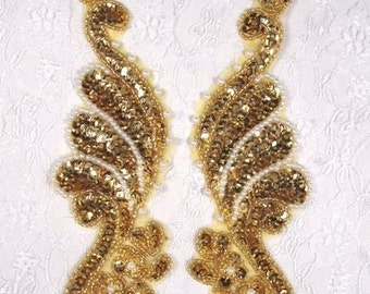 0016 Gold Pearl Mirror Pair Sequin Beaded Appliques 8.5""
