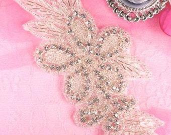 "JB20 Floral Crystal Clear Rhinestone Silver Beaded Applique 5.25"""
