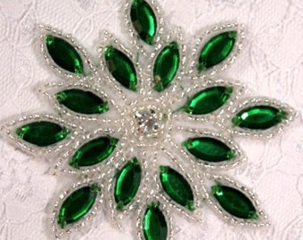 "0348 Green Silver Snowflake Jewel Beaded Applique 3""  Sewing and Crafts Motif"