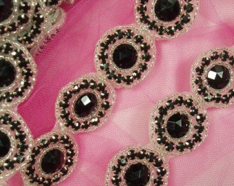 "0379  Black Silver Round Jewel Rhinestone Beaded Trim 1.25""  ( Use for Sewing and Crafts )"