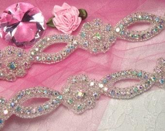 0429  Aurora Borealis Crystal AB Floral Silver Beaded Rhinestone Trim for Sewing or Crafts