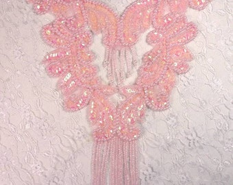 0037 Pink Bodice Yoke Beaded Sequin Applique Sewing and Crafts Motif