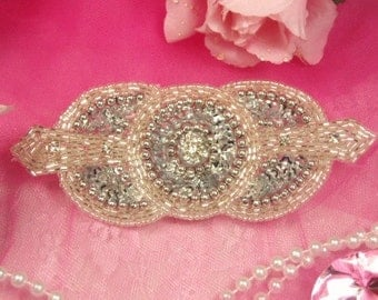 "0391 Silver Rhinestone Triple Circle Beaded Sequin Applique 5.5"" Crafts or Sewing Motif 0391-sl"