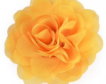 """E6042 Yellow Floral Brooch Clip Applique 5"""" E6042-yl"""