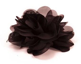 "E6042 Black Floral Brooch Clip Applique 5"" E6042-bk"