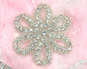 "XR65  Genuine Rhinestone Floral Flower Beaded Applique 2.75"" (XR65-slcr)"