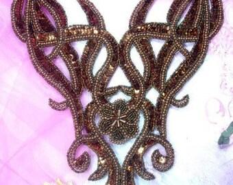 "0029 REDUCED Bronze Bodice Beaded Sequin Applique 12.5""  0029-bz"