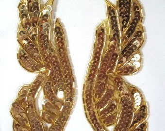 """0033 Gold Mirror Pair Beaded Sequin Appliques 6.25""""  Sewing or Crafts 0033-gl"""