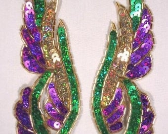 """0033 Mardi Gras Mirror Pair Beaded Sequin Appliques 6.25""""  Sewing or Crafts 0033X-mg"""