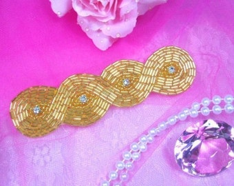 "0303  Gold Braided Beaded Rhinestone Applique Motif 5"" Sewing Crafts Hairbows  0303-gl"