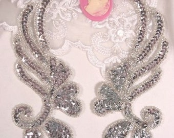"0182 Silver Mirror Pair Sequin Beaded Appliques 6"" 0182-sl"