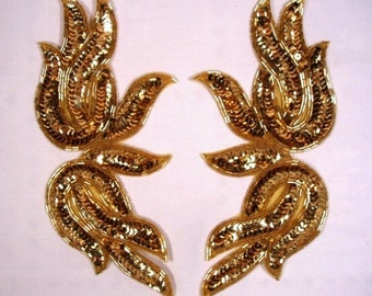 "0202 Gold Mirror Pair Sequin Beaded Appliques 9""  Evening Gown and Costume Motifs  0202X-gl"