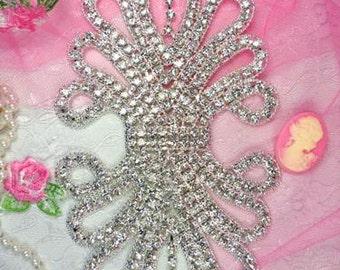 """TS12 Silver Crystal Clear Rhinestone Applique Embellishment 7.5"""""""